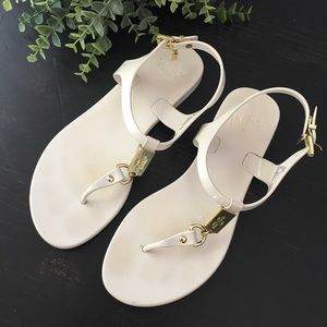 Coach Plato White Jelly Thong Sandals